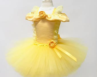 PRINCESS BEAUTY GOWN, Tutu Dress Costume, Girls Halloween Costume, Yellow, Gold, Children, Infant, Baby, Child, Kids