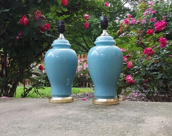 Teal/ Turquoise Lamps ~ Pair Vintage Ginger Jar Glass Lamps ~ Mid Century Table Lamps / Lighting