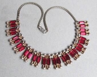 Magnificent 1940's Retro Ruby Red Rhinestone Deco Collar Necklace