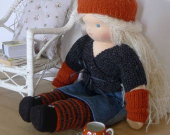 Waldorf doll 40 cm hand made in France with organic cotton