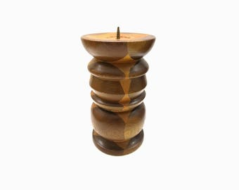 Wood turning inlaid candlestick