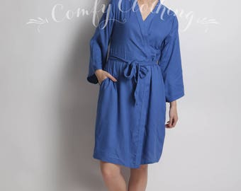 INK blue Bridesmaids robes, plain solid Robes, pastel bridesmaids robe, Wedding Party, Bridesmaid Wrap, plain Kimono, bridesmaids robe