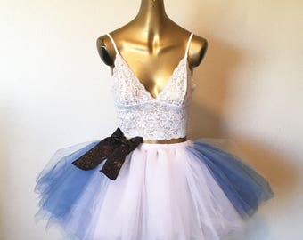 Alice in wonder land tutu adult tutu Beyond wonderland inspired edc edm rave blue and white tutu festival wear dance wear tutuhot tutu hot