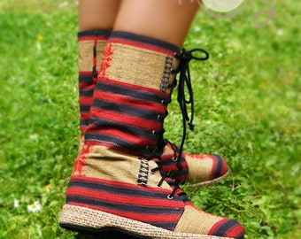 Women's Tribal Vegan Boots, Womens Boots, Tribal Boots, Beige Vegan Boots, Hmong Boots, Hippie Boots, Boho Boots, Red Boots, Ethnic Boots