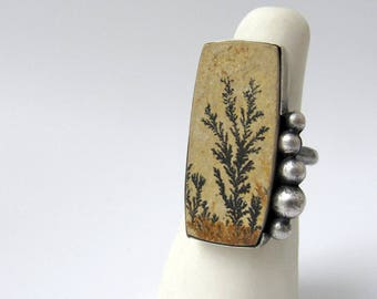 Persistence - sterling silver dendritic limestone contemporary art ring, neutral earthy botanical ring, unique artisan organic gemstone ring