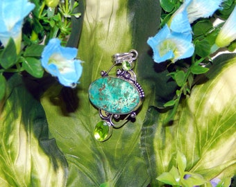 Royal male Faun inspired vessel - Handcrafted Chrysocolla Peridot pendant necklace