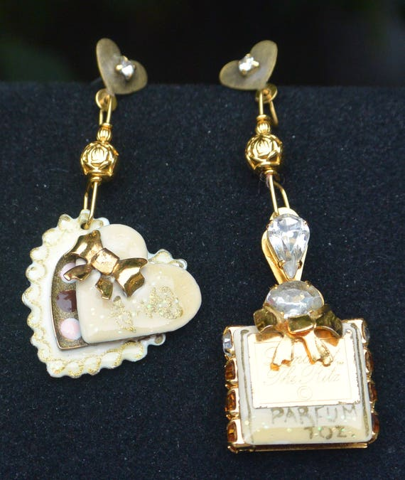 Lunch at the Ritz Earrings - Romance Heart of Parfum, Pierced - Free US Shipping - Vintage - Rare, Fabulous!