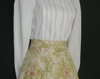 LAURA ASHLEY Vintage Victorian / Edwardian Style High Neck Pin Tuck Blouse, UK 10/12 (Label 14)