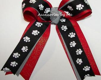 Black Paw Print Bow, Bulldog Cheer Bow, Black Red Sparkly Soccer Bow, Black Red Softball Bow, Bulldogs Spirit Team Bow, Bulk Paw Print Bows