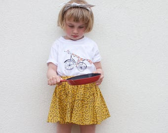 Bike kids t-shirt, funky children t shirt, animal kids tee, foxy shirt, hand painted t shirt