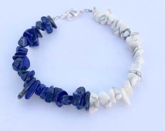 Natural Howlite and Lapis Lazuli Bracelet