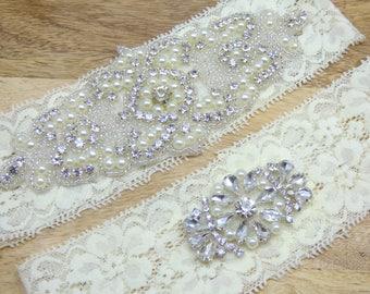 Audrey Wedding Garter, Ivory Lace Garter, Rhinestone Bridal Garter, Heirloom Quality Garter Set, Keepsake Garter, Toss Garter, Garters