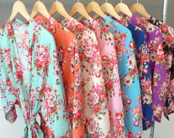 Bridesmaid Robes, Floral Cotton Robes, Getting Ready Robes, Bridesmaid Gift, Gifts For Her, Bridal Shower Gift, Kimono Robe, Robe Sets