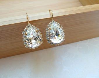 Swarovski Gold Rhinestone Teardrop Leverback Earrings-Swarovski Pear Bridal Earrings-Swarovski Pear Earrings-Rhinestone Bridal Earrings- 634