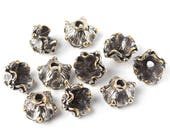 Rustic jewelry findings silver plated brass bead caps set, 10 pieces  nature, flowers, herb V0502(10). Designed and made by Anna Bronze.