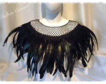 Black Feather and lace Cape Gothic,  Victorian, Burlesque, Showgirl