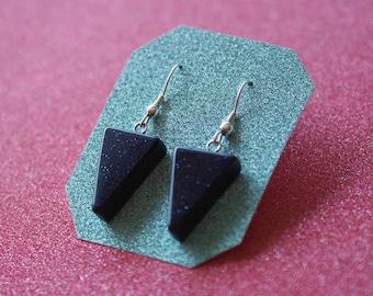 Blue Sandstone Geometric Earrings, Sterling Silver Earrings, Natural Stone Earrings, Triangle Earrings, Drop Earrings, For Her