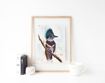 Belted Kingfisher watercolor art print - bird art, kingfisher wall decor, bird lover gift, kingfisher painting, kingfisher illustration