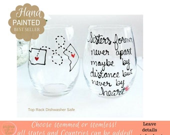 Sister Wine Glass, Gift for Sister, Sister Moving Away Gift, Sister Birthday Gift, Hand Painted Wine Glass with State or Countries