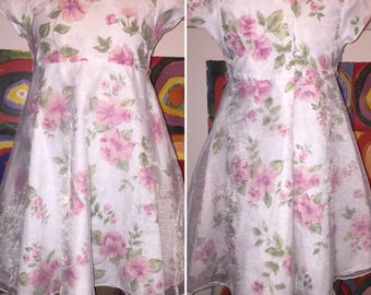Youngland Floral White and Pink Girl's Dress Size 6