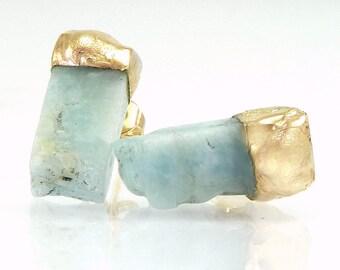 Raw Aquamarine Earrings, Aquamarine Stud Earrings, Raw Aquamarine studs, March  Birthstone, Gold Aquamarine Studs, Raw Stone Jewelry, Gift.
