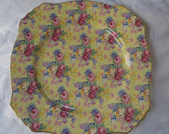 Royal Winton Welbeck Dinner Plate, Welbeck Square Plate, Grimwades Bone China, Made in England, Yellow Chintz