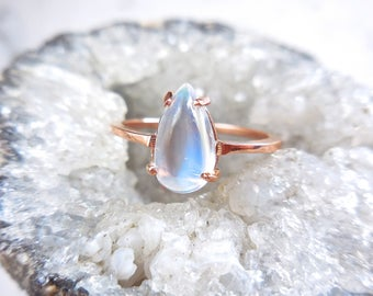 Moonstone Solitaire Ring - Pear Shaped Cabochon, June Birthstone, 14 karat Rose Gold, Diamond Alternative, Moonstone Engagement