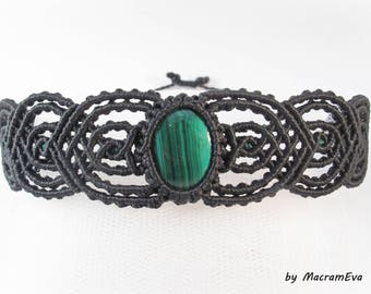 Malachite healing stone macrame bracelet
