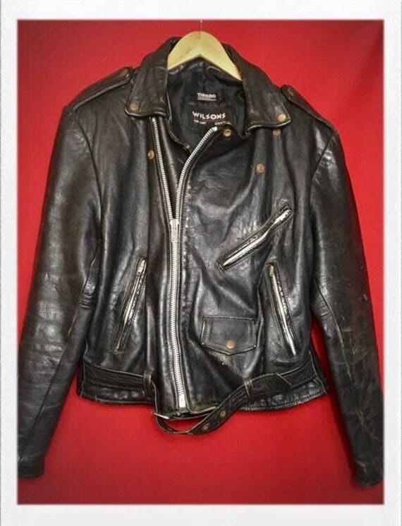 Vintage Men's Wilson Leather Motorcycle Jacket Large