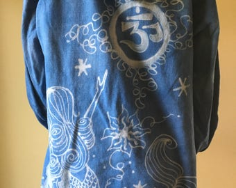 Hoodie, Organic Cotton Yoga Wear Hand dyed bleach painted, mermaid design- size LARGE
