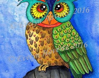 "Whimsical Owl ""Hugo"", mixed-media painting on watercolor paper"