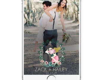Wedding Caricature Snapchat Geofilter, Cartoon Wedding Portrait Geofilter, Flowers Rustic Hipster Simple Modern Wedding Snapchat Filter