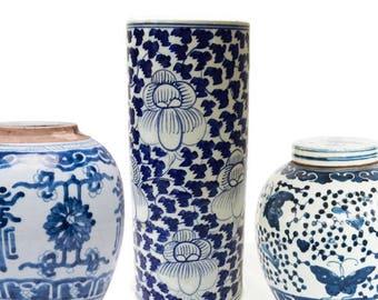 Vintage Vase Chinoiserie Cobalt Blue & White Porcelain Vase Hand Painted Lotus Pottery Vase Flower Vase 9 inches