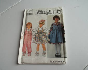 Simplicity Pattern 9792   Vintage Sewing Pattern   Multi Size Pattern   Child's Jumper, Jumpsuit and Blouse