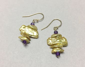 Chartreuse Keshi Pearl and Amethyst Earrings