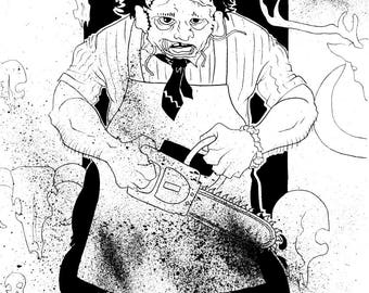 Texas Chainsaw Massacre, Leatherface, Original Ink Drawing