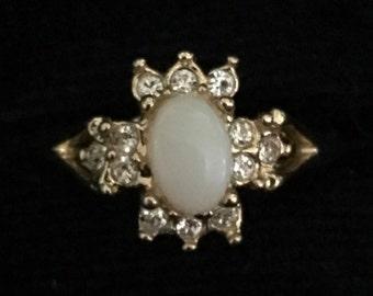 Vintage Fire Opal & Rhinestone Uncas Ring (ABx1B)