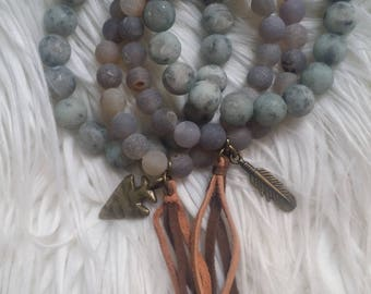 The Vintage Junkie...Stacking, Stretch Matte Agate Beaded Bracelet Set with Arrowhead and Feather Charms and Suede Tassels