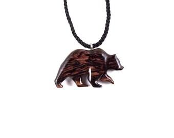 Bear Pendant, Bear Necklace, Grizzly Bear Pendant, Mens Bear Pendant Necklace, Mens Wood Necklace, Spirit Animal Bear, Totem Bear Jewelry