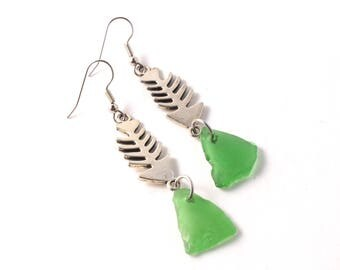 Rhode Island Green Sea Glass Earrings with Silver Fish Bone Connectors on Surgical Stainless Steel or Sterling Silver Ear Wires