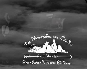 Car Decal, Disney Mountains, Vinyl decal, Space Mountain, Splash Mountain, Matterhorn, Big Thunder, Disney decal