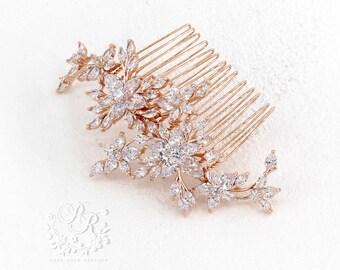 Wedding Hair Comb Zirconia Rose gold Hair Comb Bridal Hair Comb Hair piece Wedding Accessory Wedding Jewelry Bridal Comb Bridal Jewelry Ava