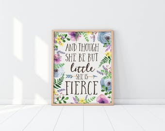 Woodland Nursery Art Print - And though she be but little she is fierce - Purple flowers - Boho - Baby Shower Gift - Kids Decor - SKU:390