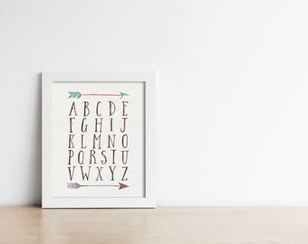 Alphabet PRINTABLE Nursery Art - Woodland Art Print - Digital Art - Nursery Decor - Baby Shower Gift - Nursery Sign - Arrows - SKU:441