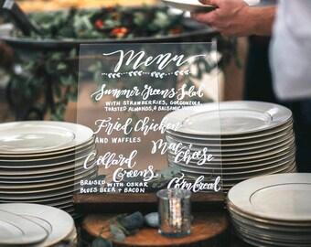 Acrylic Wedding Table Sign, Menu Sign Ideas