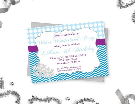 Winter wonderland birthday invitation frozen snowflake party il570xn solutioingenieria Choice Image