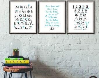 Jesus Loves Me this I know Nursery print, nursery art, ABC print, 123 print, boys nursery wall art, Instant Download, Baby boy Room Decor