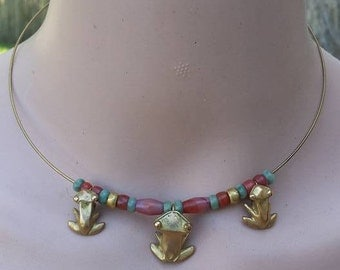 Vintage 70s replica Pre columbian wire choker frogs and stones