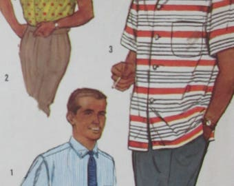 Vintage 1960  Simplicity Men's Proportioned Shirt Sewing Pattern  #2081 Size  Small Chest 34-36  Neck 14 1/2