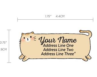 Sweet Fat Orange Ginger Tabby Kitty Cat Hand Cut / Diecut Custom Return Address Labels